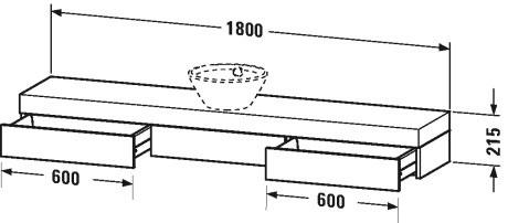 duravit fogo meubles plan de toilette avec tiroirs pour vasques poser fo8388 by duravit. Black Bedroom Furniture Sets. Home Design Ideas